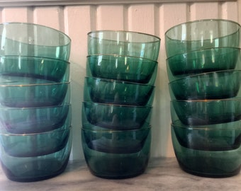 Vintage Libbey green/teal glass bowls