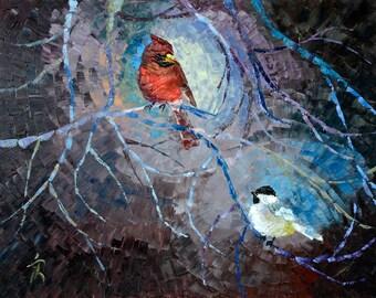 "Art Painting -  Birds - PALETTE KNIFE -  Art Oil Painting On Canvas By Irena Rudman - Size:16"" x 20"" (40.5 cm x 51 cm)"