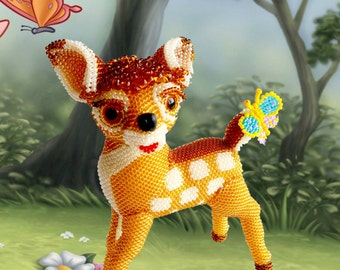 "Pattern / Tutorial Beaded Ornament -Master class to create "" Fawn Bambi """