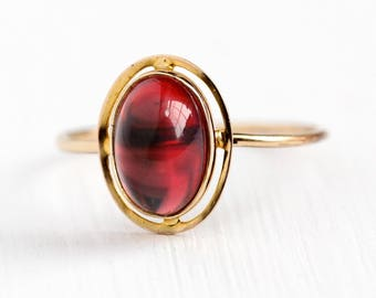 Red Cabochon Ring - Vintage 10k Top Gold Filled Band Stick Pin Conversion Oval Glass Stone - 1910s Antique Size 8 1/4 Edwardian Fine Jewelry