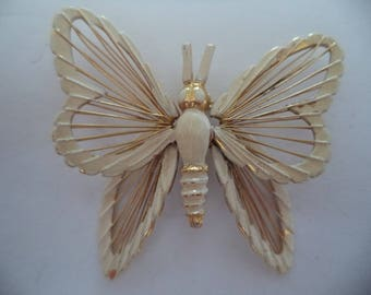 Vintage Signed Monet Goldtone/Cream Wired Butterfly Brooch/Pin