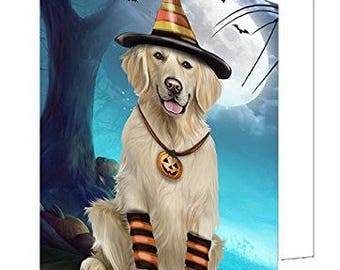 Happy Halloween Trick or Treat Golden Retriever Dog Candy Corn Set of 10 Greeting Cards