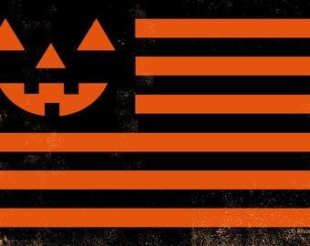 "Halloween Flag 12"" x 18"" Signed Art Print ""United"" by Rhode Montijo"