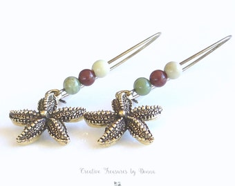 On Sale, Starfish, Brass Earrings, Jasper Gemstones, Pewter Starfish, Ocean Earrings, Starfish Earrings, Gemstone Earrings, Gift For Her