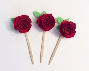 rose cupcake toppers, beauty and the beast, cupcake toppers, princess party, beauty and the beast party, birthday decoration,