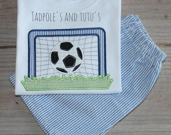 Personalized Fun Soccer Shirt and Matching Bottoms, Soccer Applique Tshirt & Matching Bottoms, Soccer Applique Shirt, Sports Applique Shirt