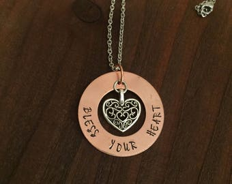 Bless Your Heart Copper Washer Necklace- Bless Your Heart Necklace- Southern Quote Jewelry- Southern Jewelry- Copper Jewelry- Womens Jewelry