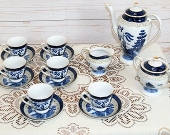 Vintage Nikko Ironstone 15 Piece Japanese Double Phoenix Blue and White Coffee Set or Service