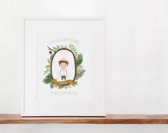 Little Explorer Dream BIG Personalized Art Print
