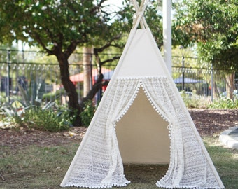 Pocahontas ruffle lace teepee tent with pompom trim/kids Play tent/ girls lace Tipi Wigwam or Playhouse prop tent