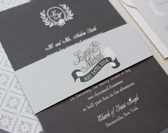 Rustic Wedding Invitation, Monogram Wedding Invitation, Chalkboard, Modern Wedding Invitation Set - Chalk Tiara Sample