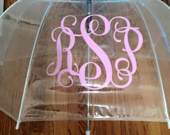 Monogrammed umbrellas, Personalized umbrealla, Monogrammed Adult Umbrella, Monogrammed clear dome umbrella