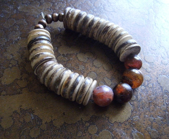 Hilltop Wood Coco Pukalet and Mixed Agate Beaded Stretch bracelet
