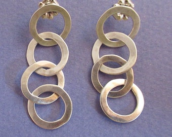 Four hammered sterling silver post earrings