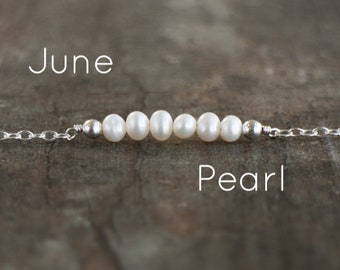 Dainty Pearl Necklace, Bridesmaids Gifts, Wedding Gifts, Bar Necklace, June Necklace, Freshwater Pearl Jewelry, June Birthstone Necklace