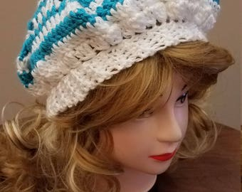 Turquoise and White Slouchy Beret Hat - Ready to be Shipped