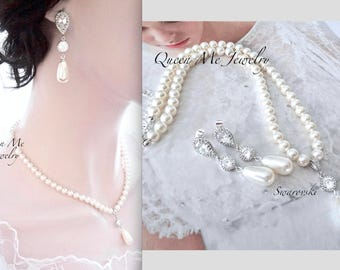 Swarovski Pearl drop necklace and Pearl drop earrings set Pearl jewelry set BEST SELLER Brides Wedding Bridal jewelry set For a bride