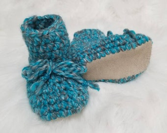 Leather sole baby booties, leather sole baby slippers, crochet baby booties, crochet baby slippers
