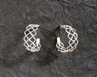 Braid Hoop Earrings 925 Sterling Silver