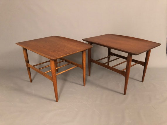 Mid-Century pair of walnut end tables