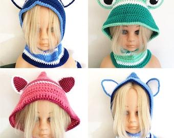 Crochet Hoodie - Crochet Beanie - Crochet Trapper Hat - Child Hat - Beanie - Winter Hat Scarf - Girls Hat - Boys Hat - Crochet Hood