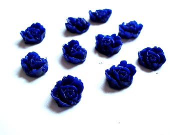set of 10 blue flowers painted, scrapbooking dark cold porcelain
