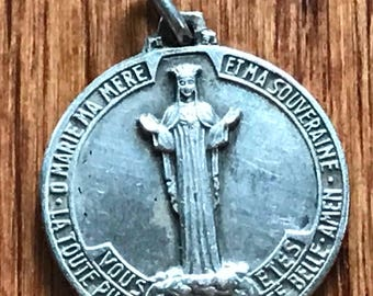 Our Lady NOTRE DAME of BEAURAING & Marian Monogram Vintage Religious Medal Pendant Religious Jewelry on 18 inch sterling rolo chain