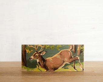 Paint by Number 'Leaping Buck' Art Block - deer, stag, woodland, vintage