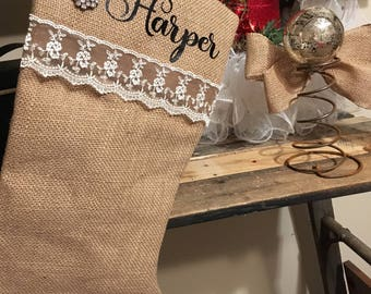 Rhinestone Burlap Stocking-personalized/ Burlap Stocking/ Shabby Chic Stocking/ Christmas Stocking
