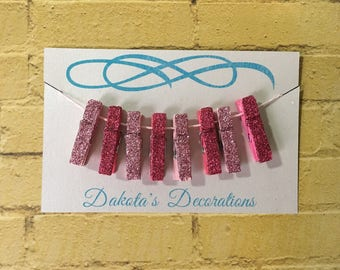 Mini Clothespins, Set of 8, Glittered, For Office or Crafting, Light Pink/Dark Pink (4 of each)