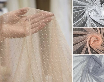 1 meters Mesh fabric soft points Point D'Esprit wedding veil White wedding mesh Beige wedding tulle fabric Transparent  Soft Mesh Fabric