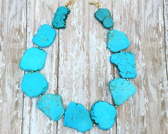 Chunky Turquoise Necklace, Turquoise Statement Necklace, Gold Turquoise, Turquoise Bead Necklace, Western Necklace, Southwest Jewelry