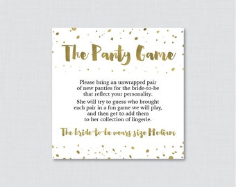 Gold Panty Game - Printable Gold Lingerie Shower Panty Game Cards AND Sign - Lingerie Shower Game, Bachelorette Party Game 0010-G