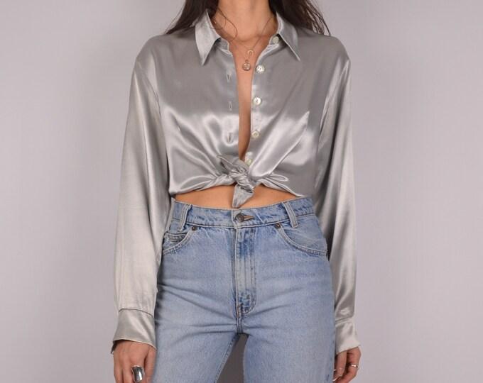 SALE Vintage Liquid Silver Button-up Shirt