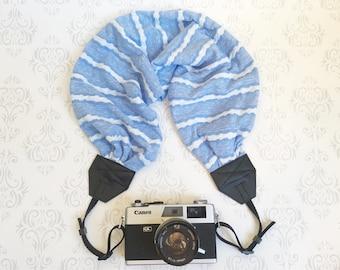 Scarf Camera Strap, DSLR Camera Strap, Soft and Silky, Nikon, Canon, DSLR Photography,  Photographer Gift - Striped Light Blue