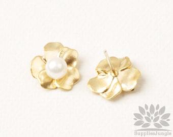E347-MG// Matt Gold Plated 13mm Post Pointed Flower Earring Post, 2pcs