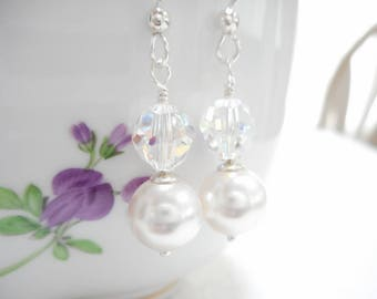 Pearl & Crystal Earrings, Swarovski Crystal Jewelry, White Pearl Dangle Earrings, Aurora Borealis Earrings, Sterling Silver Bridal Jewelry