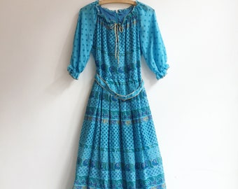 Vintage maxi long printed hippie bohemian summer beach dress gown size S/M