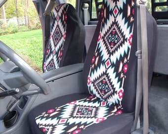 A Set of Winterfleece Shadow Diamond Multi Print. Seat Covers and Steering Wheel Cover Custom Made.