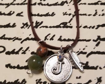 Leather Intial Charm Necklace