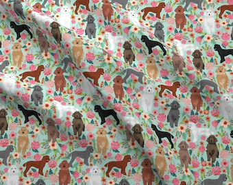 Poodles Fabric - Poodle Florals Cute Mixed Color Poodles By Petfriendly - Poodle Dog Floral Cotton Fabric by the Yard with Spoonflower