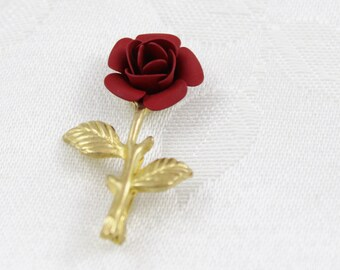 Vintage Petite Red Rose Brooch - B90