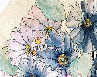 Midnight Blue Florals - Original Watercolour + Ink Pen Art Drawing - Size A3 - (unframed)