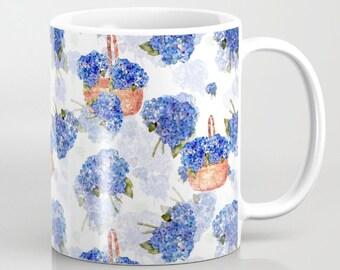 Mug, Cape Cod Hydrangea Nosegay and baskets mugs, 11 oz and 15 oz