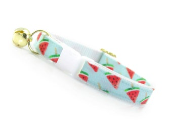 "Fruit Cat Collar - ""Watermelon Pops"" - Mint Fruit Cat Collar Breakaway / Tropical / Fun / Summer / Cat, Kitten & Small Dog Sizes"