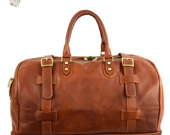 Genuine Vegetable Tanned Leather Travel Bag