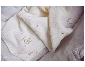 Plaid double gauze embroidered cotton - Collab @babyatoutprix X pauline villa