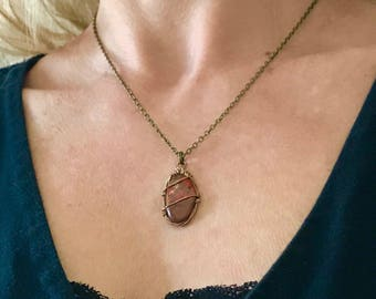 STONE PENDANT NECKLACE - red polished stone - guitar string necklace - under 30.00
