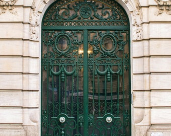 Paris Photography, Ornate Green Door Photograph, Paris Architecture, French Wall Decor