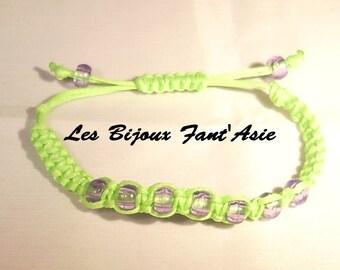 Lime green macrame bracelet neon toddler purple transparent acrylic beads